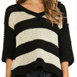 FREE PEOPLE | chunky striped v-neck knit sweater